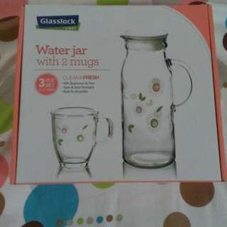 全新韓國製玻璃飲水壺+2玻璃杯