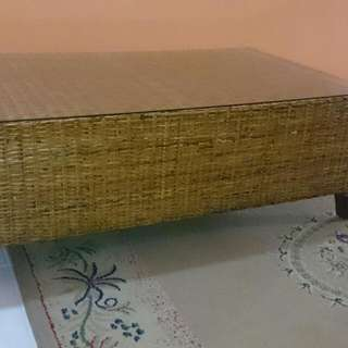 Rattan Finish Coffee Table With Glass Top