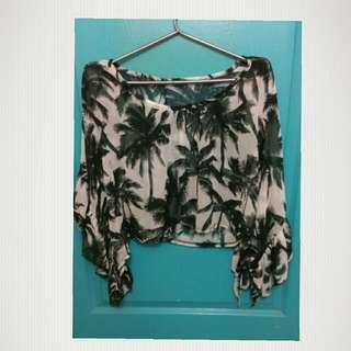 C023短版棕櫚樹透膚上衣