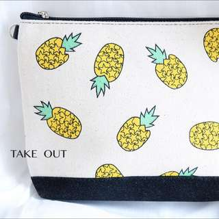 泰國空運 帆布 絨布底 跳色 拼接 鳳梨 水果 側背包 肩背包