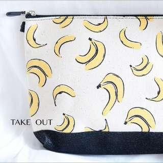 泰國帶回 帆布 米 水果 香蕉 黃 絨布底 肩背包 側背包