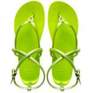 🍏Havaianas哈瓦仕草綠繫帶夾角涼鞋
