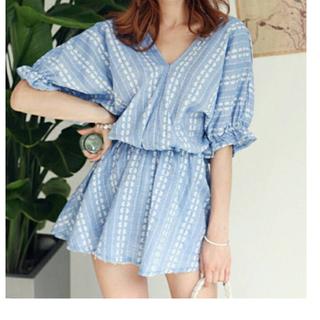 小清新 亞麻 V領連身裙 雙色