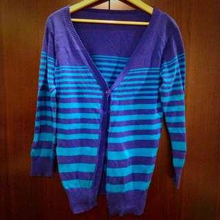 深藍x藍條紋針織長版外套