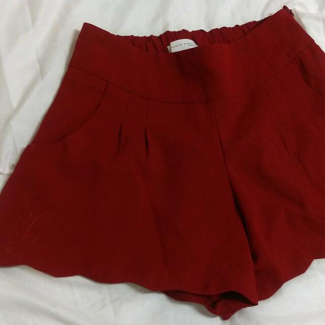 【二手】酒紅色休閒褲裙
