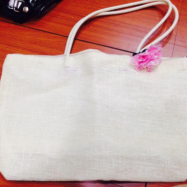 全新/米白色編織包👒(附花)