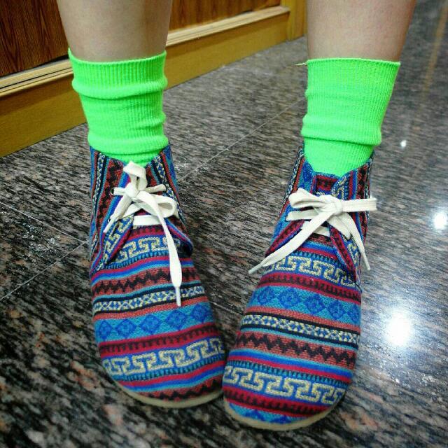 穿過一次 原宿幾何圖騰反折綁帶內增高鞋