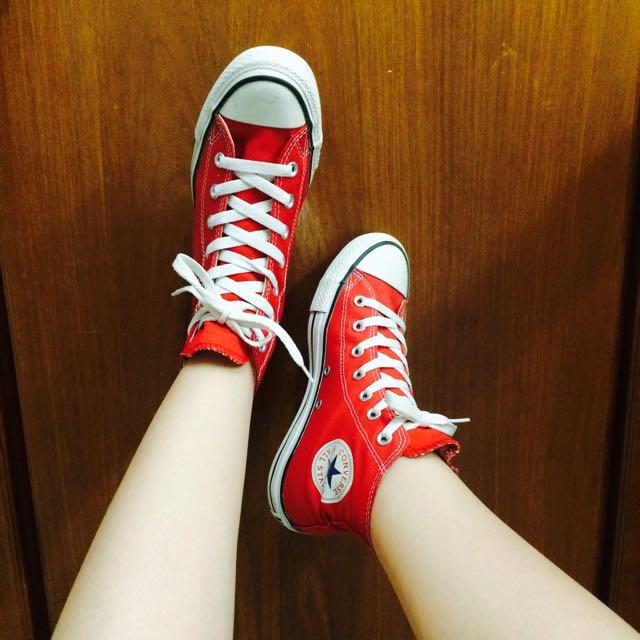 正品Converse紅色高筒