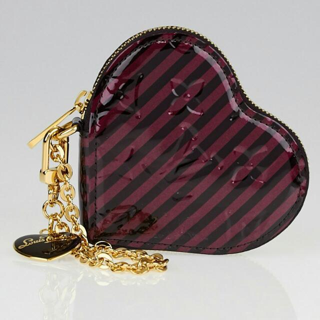 ca6c36eeea52 Louis Vuitton Limited Edition Monogram Vernis Raye Heart Coin Purse ...