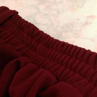 氣質💯酒紅鬆緊褲裙