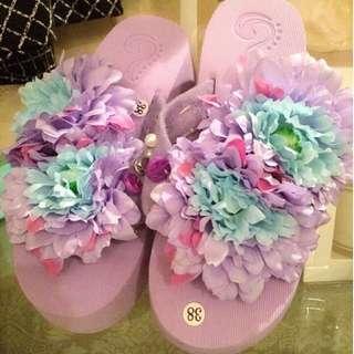 手工特製!紫色花瓣 亮鑽超厚底鞋夾腳 沙灘人字拖拖鞋 38號