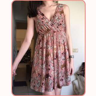 H&M 粉橘蝴蝶洋裝