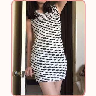 韓國製 黑白條紋合身洋裝