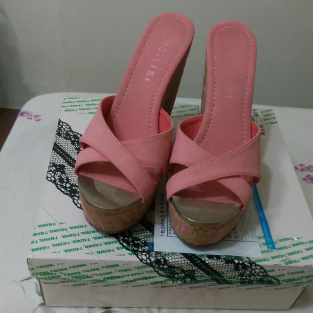 粉紅高根楔形鞋 24.5
