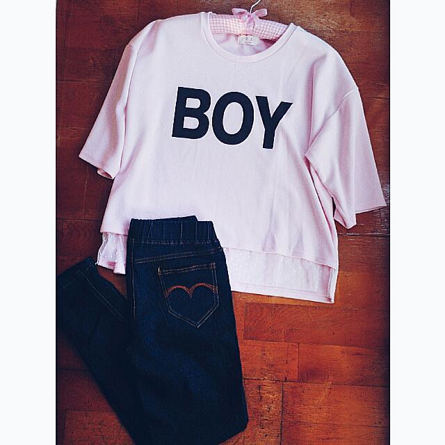 降📣【兩件含運】👕👖韓妞 BOY下襬蕾絲寬鬆上衣+深藍腰鬆緊牛仔褲/S
