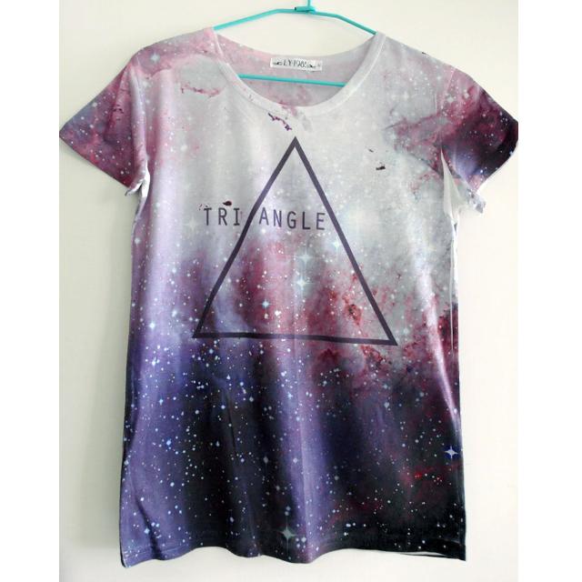 # List of Ande # 璀璨星空 幾何 三角形 Triangle 紫色 圓領T 上衣 # 全新