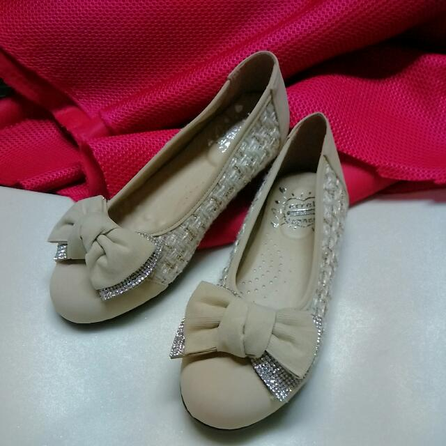 零碼)金蔥蝴蝶結平底娃娃鞋 米色Size 24