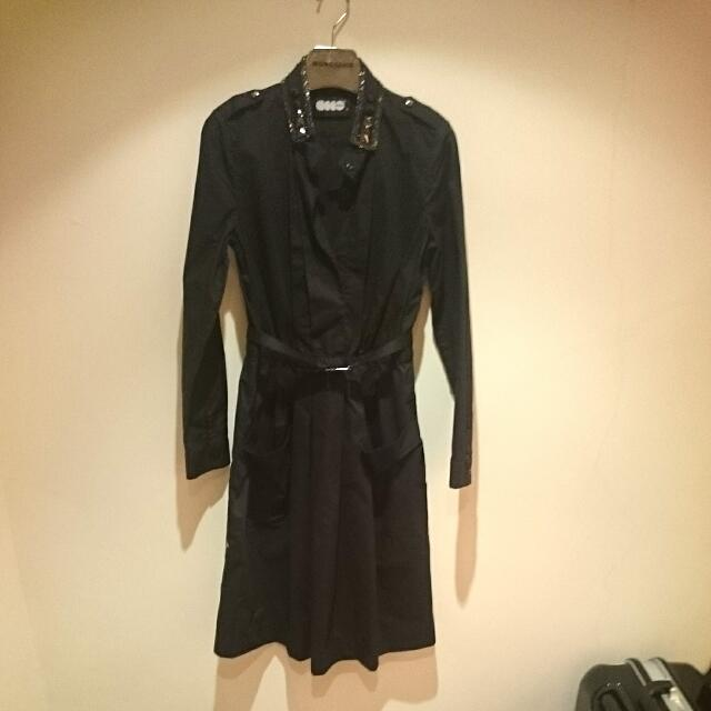 Ecco黑色風衣式洋裝