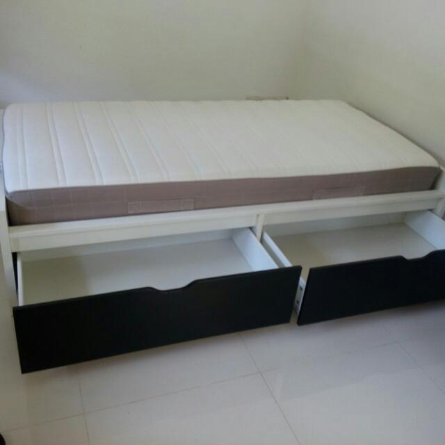 Ikea Flaxa single Bed Frame With Drawer, Home & Furniture on Carousell