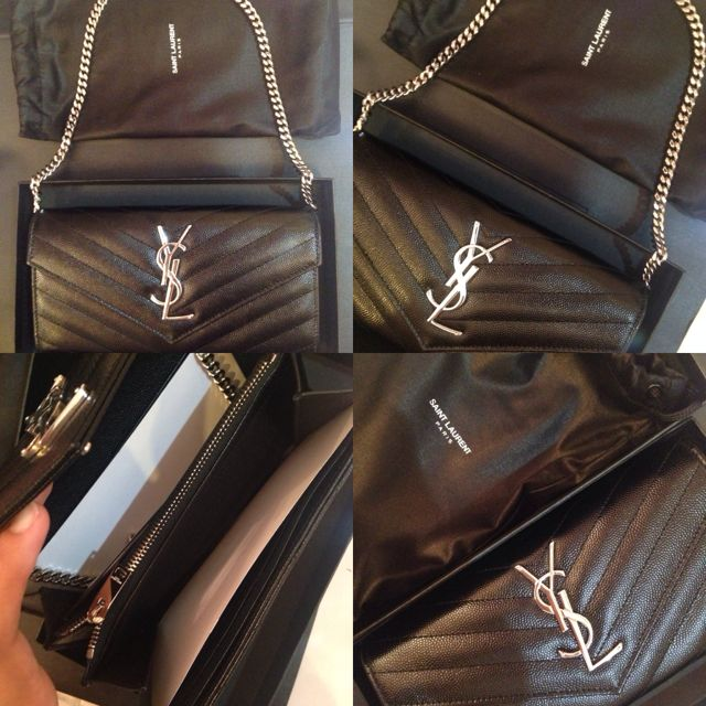 2a36bd4ab9e7 YSL Wallet On Chain Silver Hardware