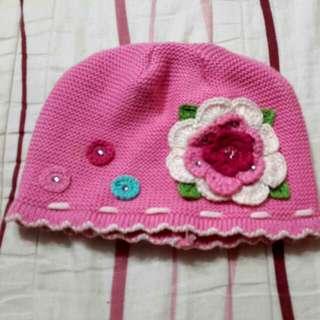 桃紅女童針織帽