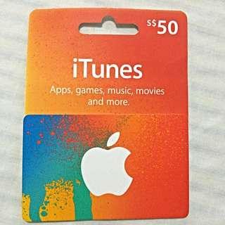 BNIP $50 iTunes Card