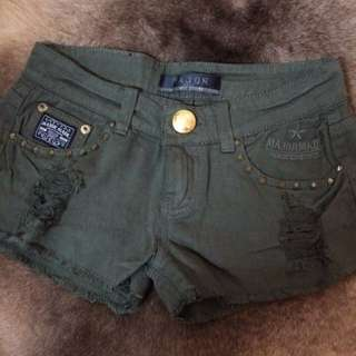 MJR釘釘軍綠斜紋布短褲