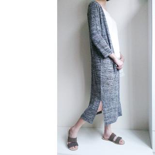 【全新 韓系】隨性自然性格感 灰白混色 長版七分袖針織外套 (F) 正韓 MEIERQ 小安