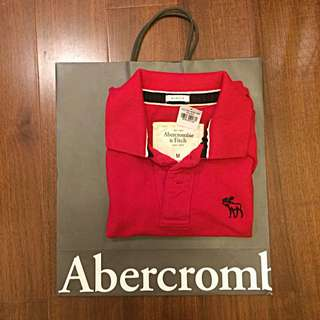 (暫售)🎉大降價🎉《 A&F 紅色 短 Polo 衫 》 logo  💯 <M> 💯