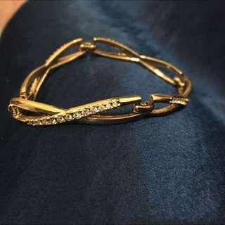 金色 水鑽手鍊 扣式