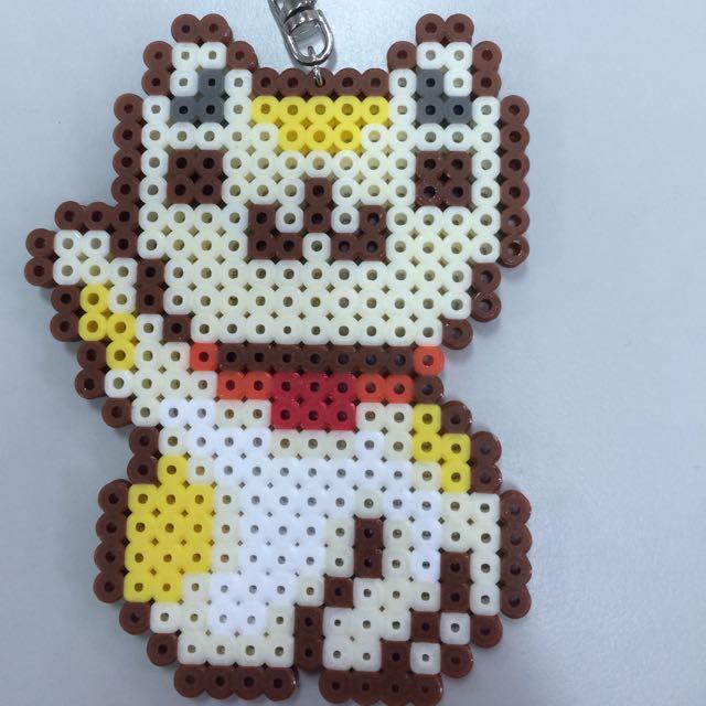 白貓拼豆鑰匙圈