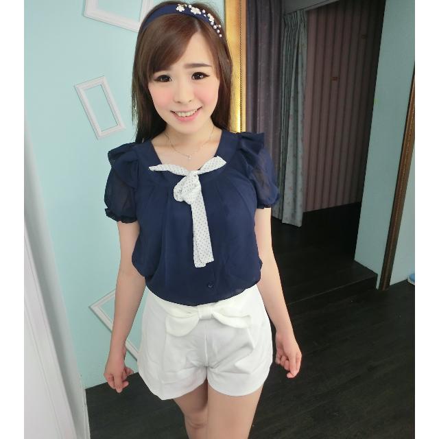 素色蝴蝶結高腰短褲(白)