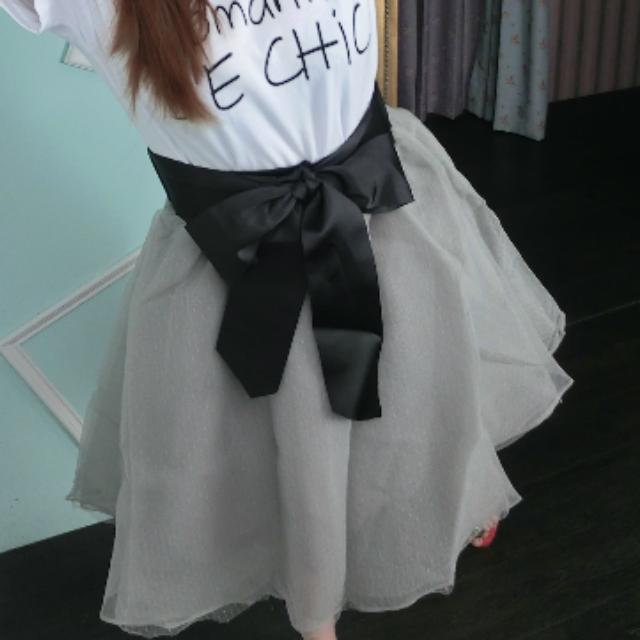 緞帶蝴蝶結雪紡紗裙