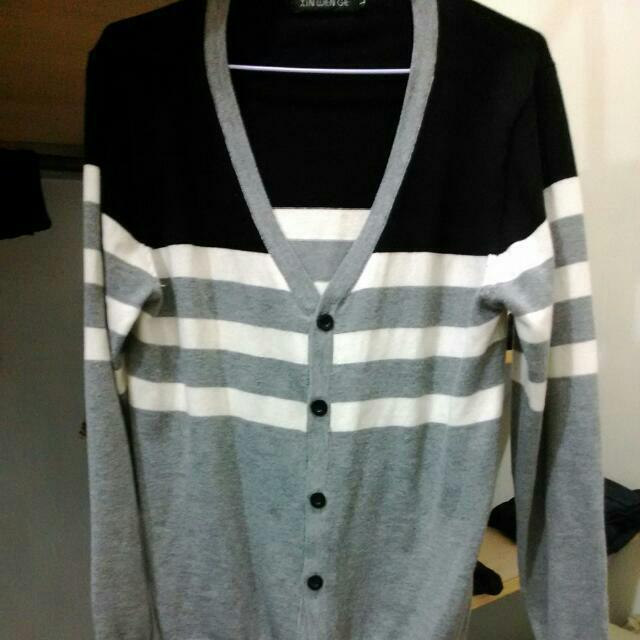 黑白灰相間針織衫 (L)