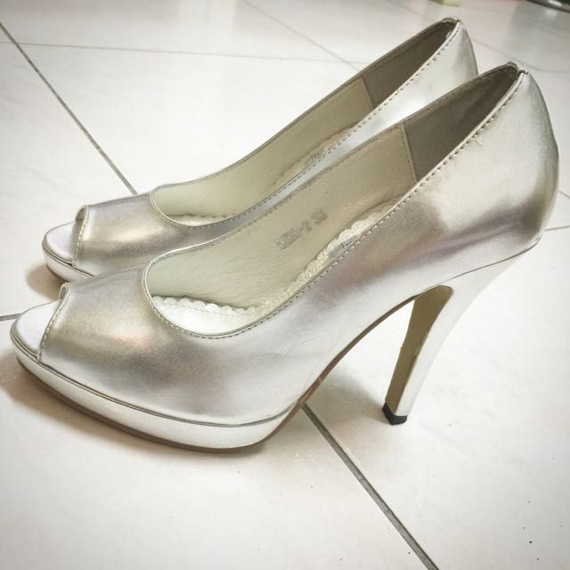 Angela銀色魚口高跟鞋 36號
