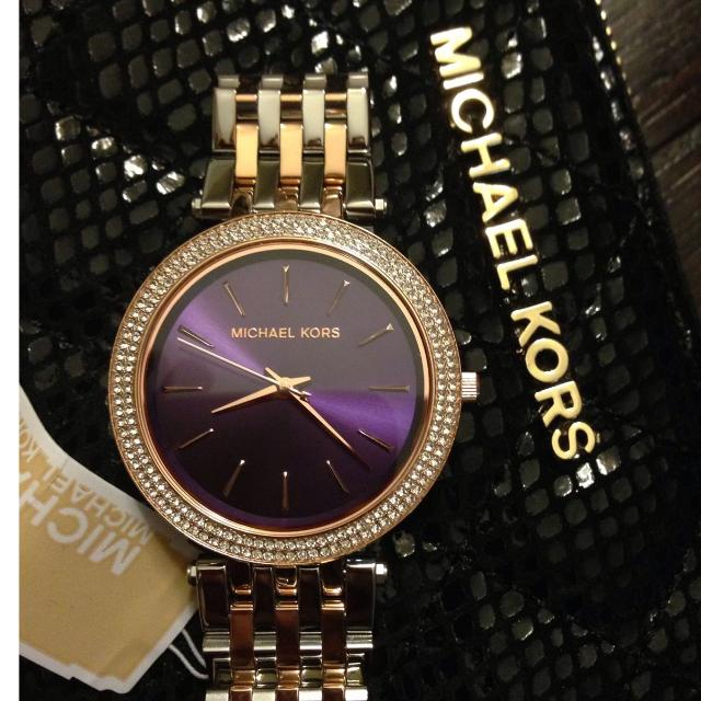 (已訂)Michael Kors 光耀晶鑽都會腕錶-紫x雙色