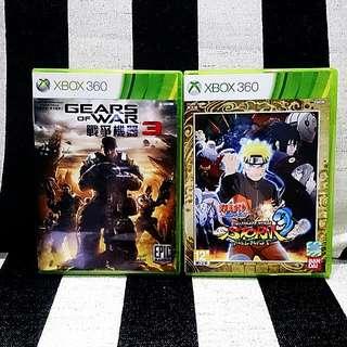 9.9新含運 💯正版Xbox360遊戲片💿戰爭機器3(中文標準版)💿火影忍者疾風傳:終極風暴3(日英語美版)