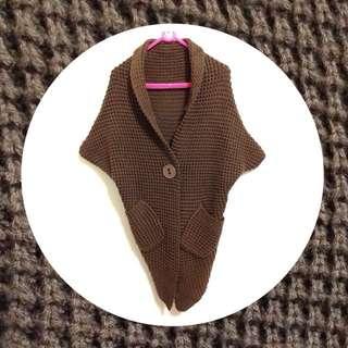 ‼️限時特價 ‼️飛鼠袖翻領開襟針織外套-可可色