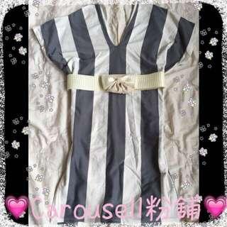 灰白直條紋簡約風洋裝