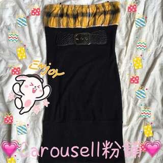 黃格子假腰帶設計平口洋裝