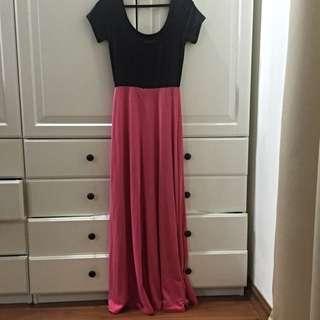 Black & Pink Short sleeves Long Dress