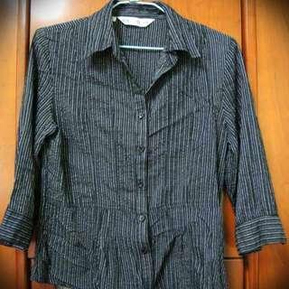 ★二手★黑白條紋七分袖襯衫