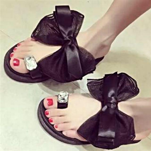 預購2 鑽石蝴蝶結新款涼鞋拖