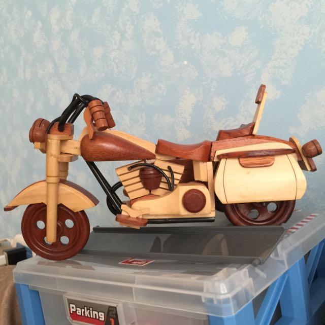 木雕復古摩托車 全新