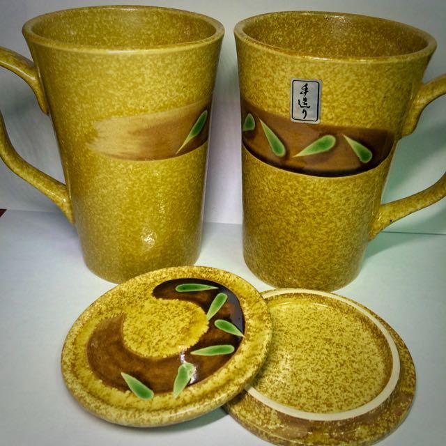 【熊的二手屋】手造 彩瓷陶瓷 馬克杯+杯蓋組 雙杯不拆賣
