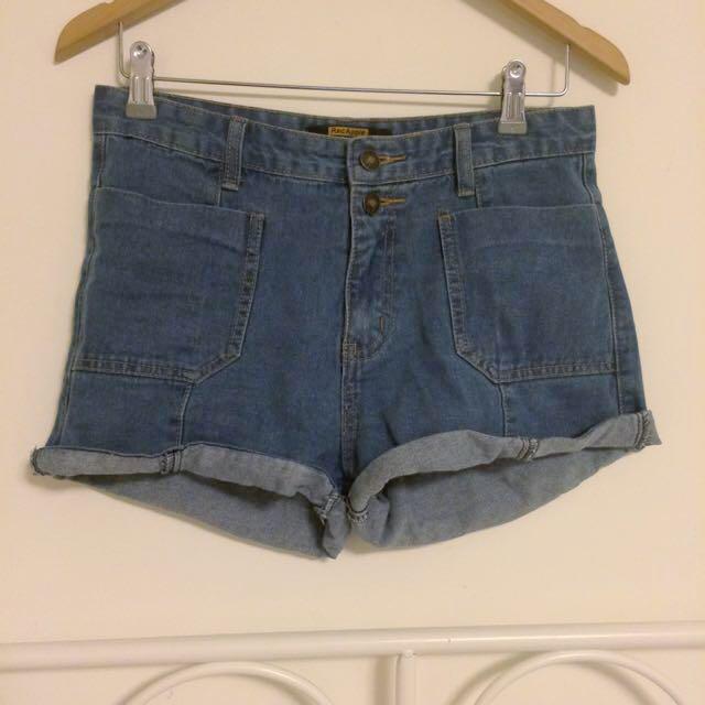 中腰顯瘦大口袋寬鬆捲邊牛仔褲