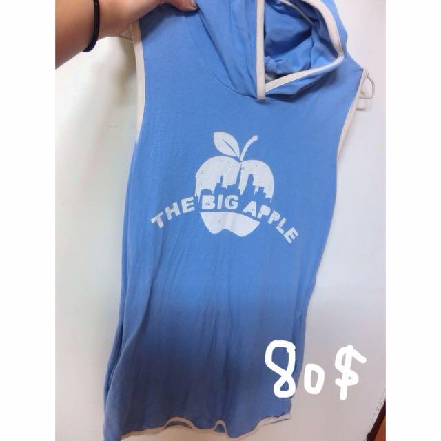 ▫️清新藍色正韓英文字洋裝 ▪️
