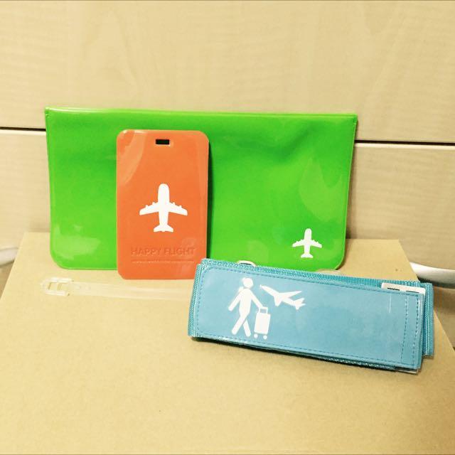 護照/票夾/行李牌/行李綁帶 藍 綠 橘 行李吊牌