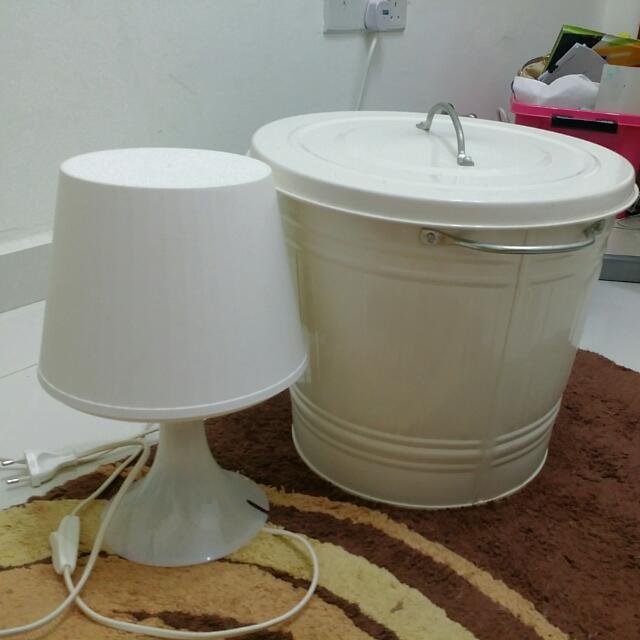 Ikea Lamp & Trashbin w/ Lid