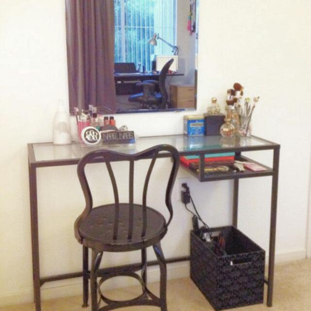 Ikea Desk + Free Chair For Work Or Beauty Dressing